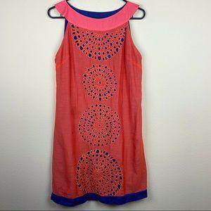 Kas New York orange embroidered boho dress M